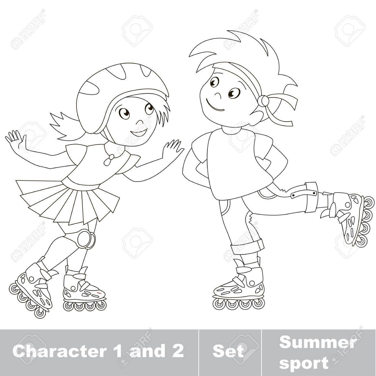 Página A Ser Color Dos Pequeños Niño Y Niña De Patinaje Sobre Patines Verano Juegos Al Aire Libre Para Los Niños Niños Deporte Verano
