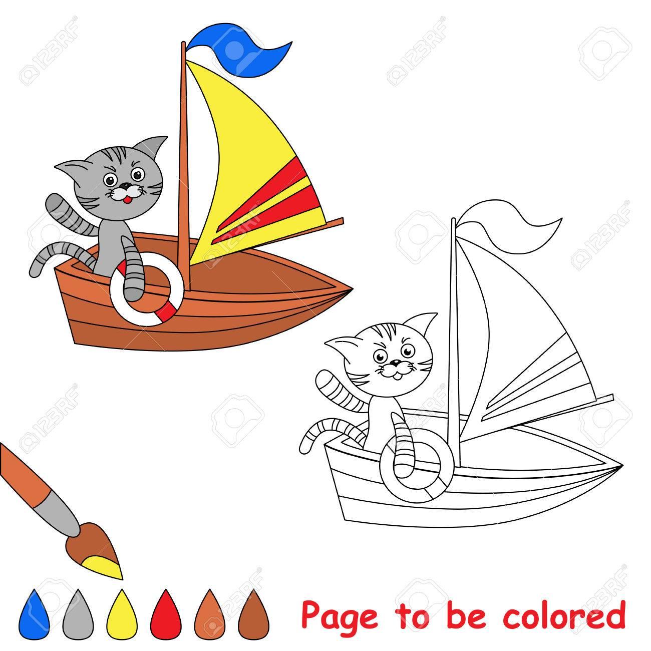 Página A Ser De Color. Gato Del Juguete En El Barco. Libro Para ...