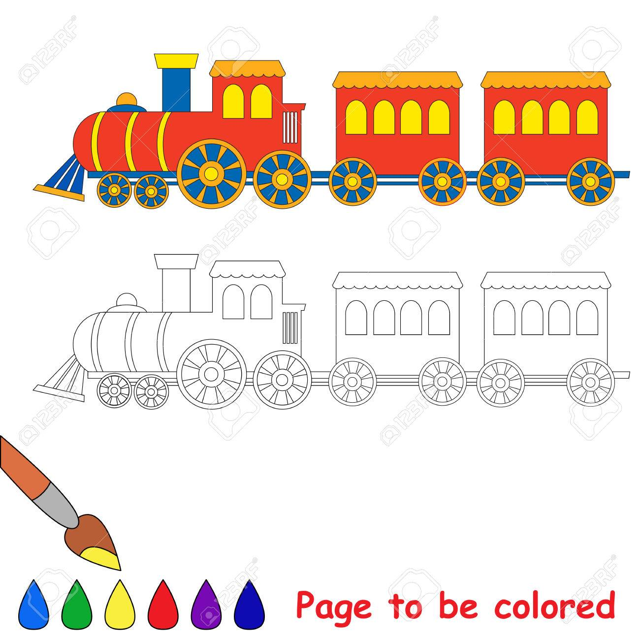 toy red blue locomotive train engine car coloring book for kids