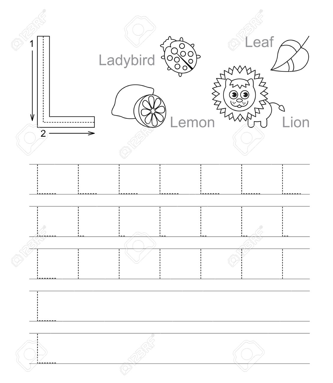 Vector Exercise Illustrated Alphabet Learn Handwriting Tracing – Vector Worksheet
