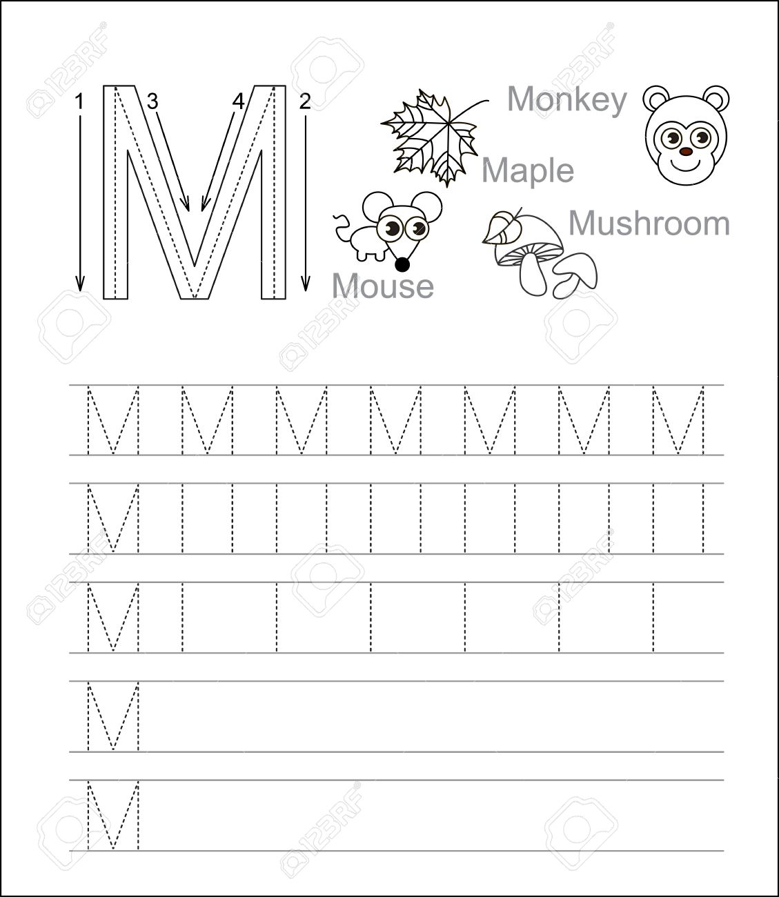Workbooks Letter M Handwriting Worksheets Free Printable