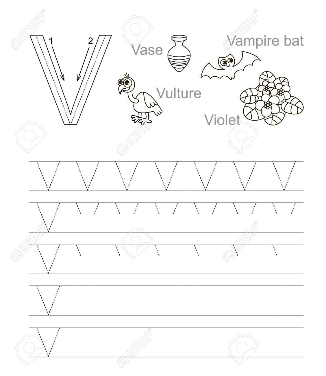 Vector Exercise Illustrated Alphabet. Learn Handwriting. Tracing ...