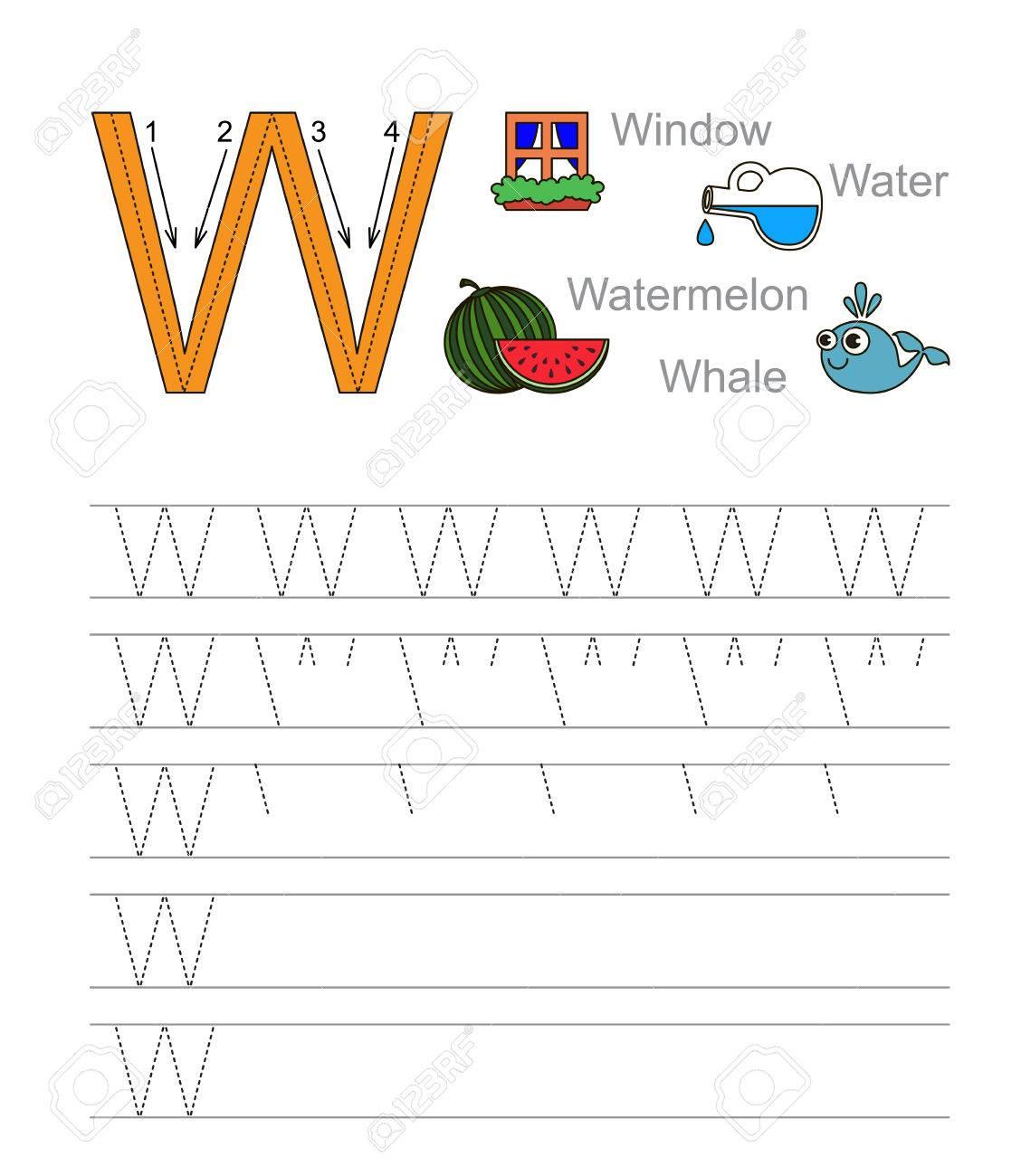 Vector Übung Veranschaulicht Alphabet. Lernen Handschrift. Tracing ...