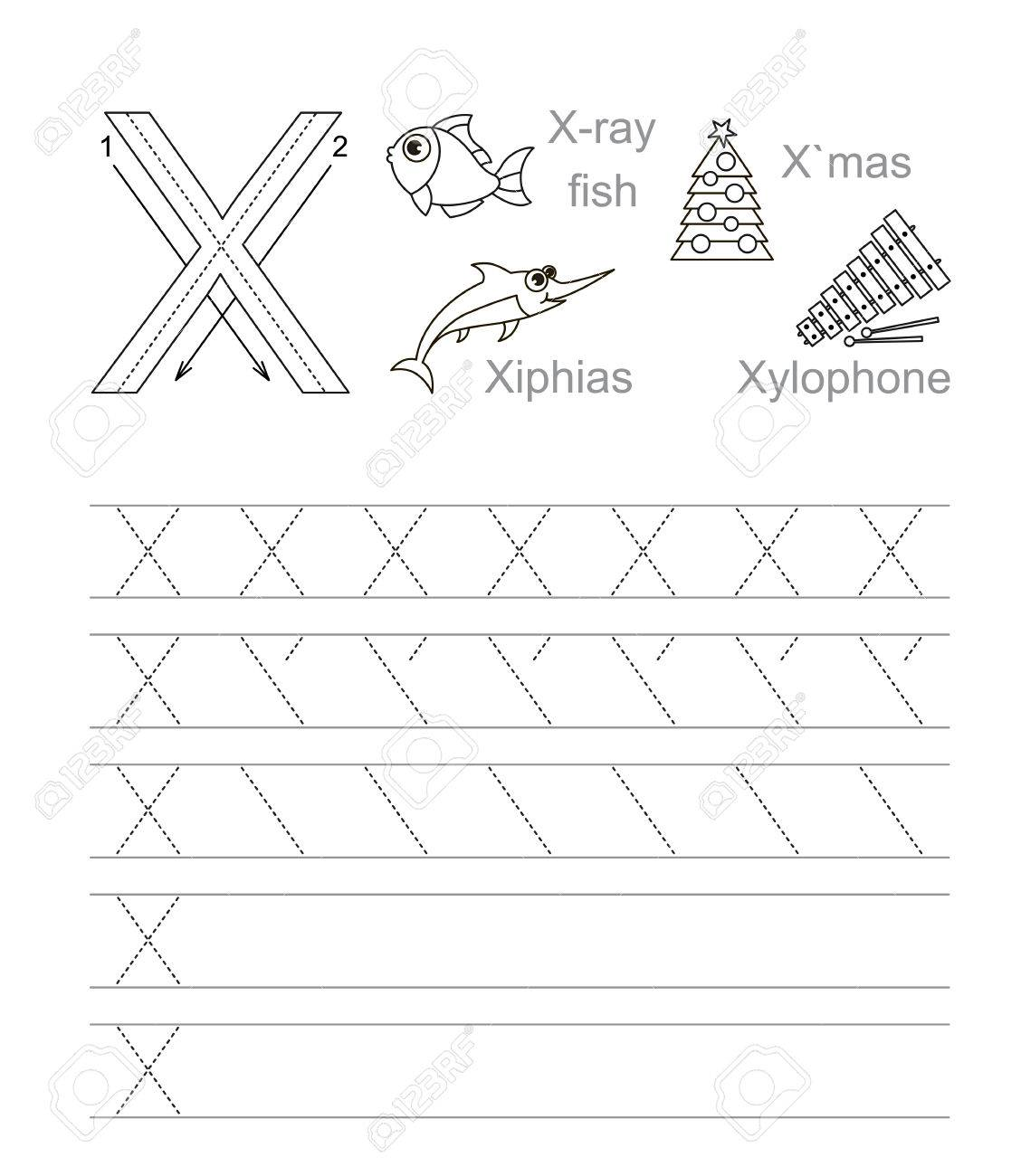 Worksheet Learn Handwriting vector exercise illustrated alphabet learn handwriting tracing worksheet for letter x page to be colored