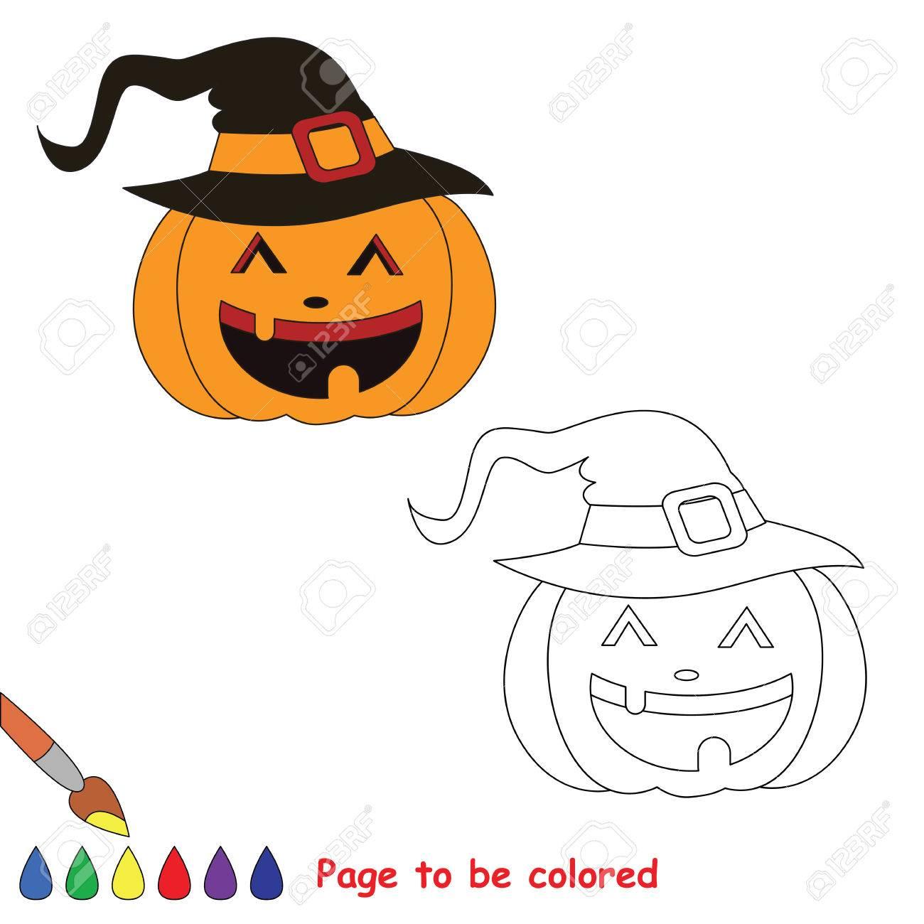 Vector De Dibujos Animados De Calabaza De Halloween Para Colorear ...