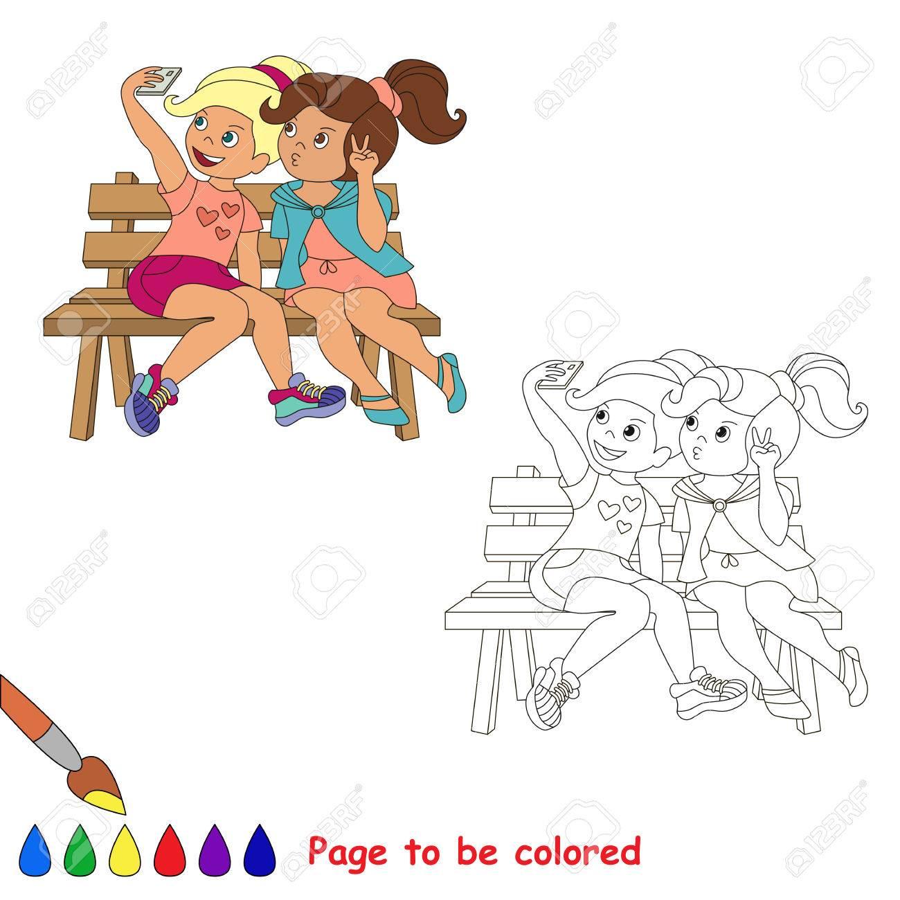 Vector De Dibujos Animados Jugando Babyvector Amigos Niñas Con Teléfono Maquillaje Selfie Libro Para Colorear Para Los Niños