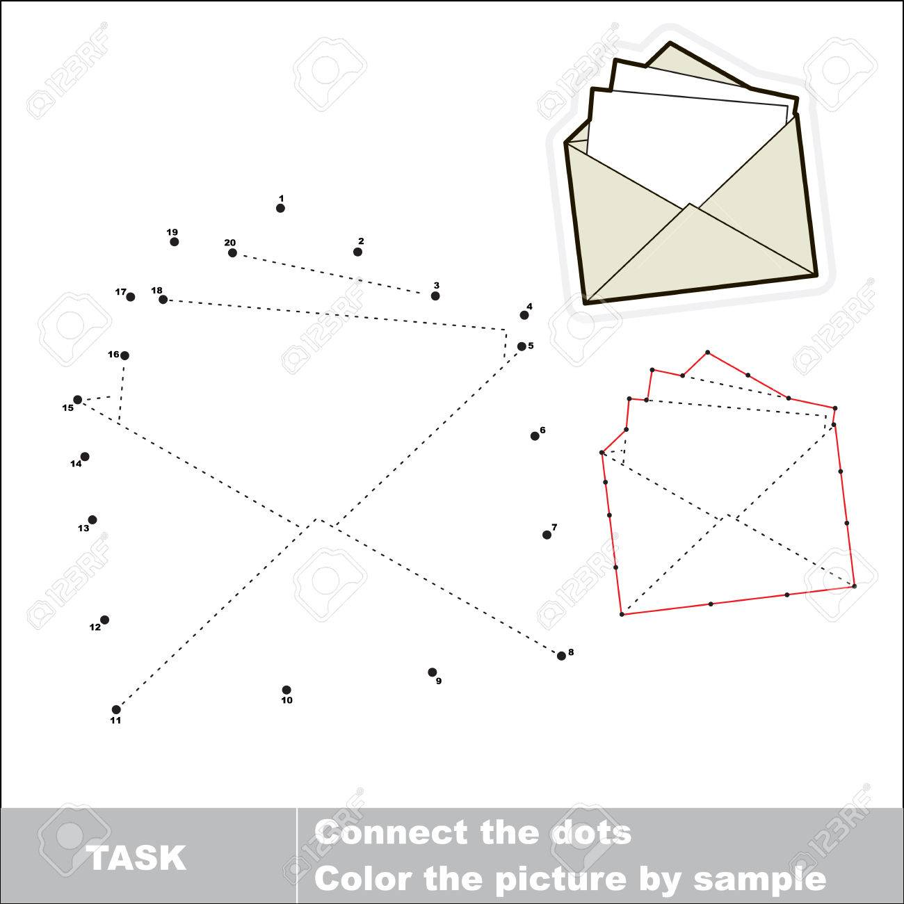 vector paper envelope to be traced by numbers dot to dot game