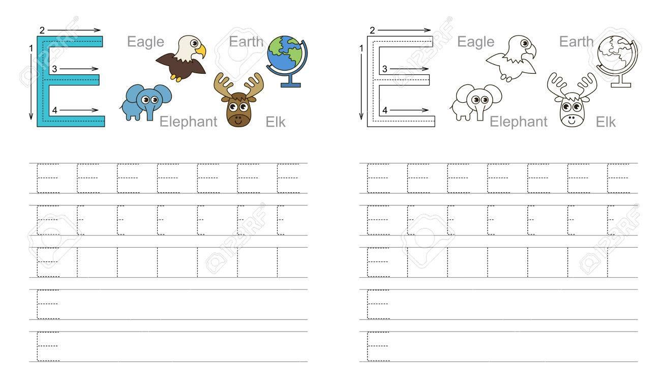 Vector Übung Dargestellt Alphabet. Lernen Handschrift. Seite Farbig ...