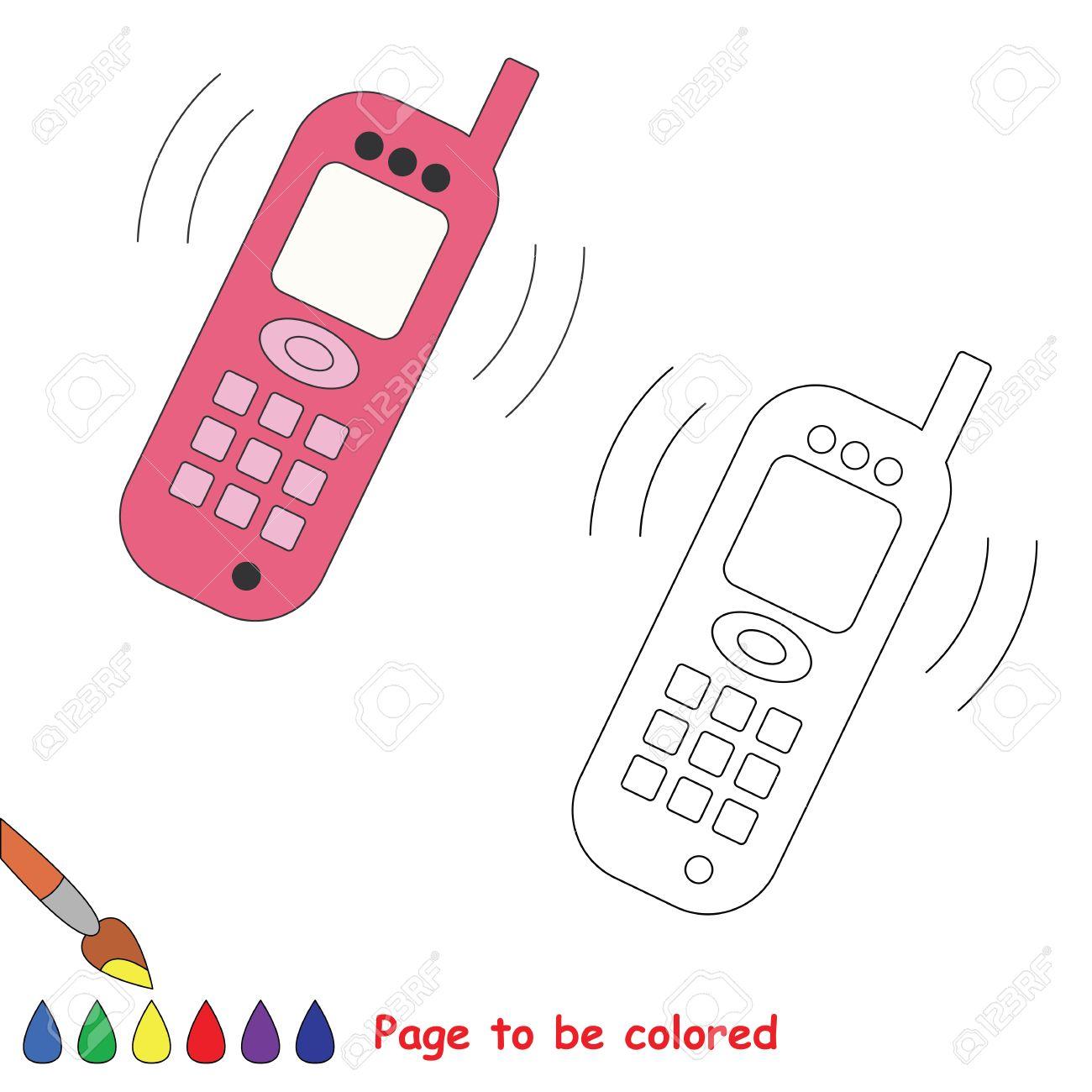De Dibujos Animados De Vectores Teléfono Para Colorear Libro Para