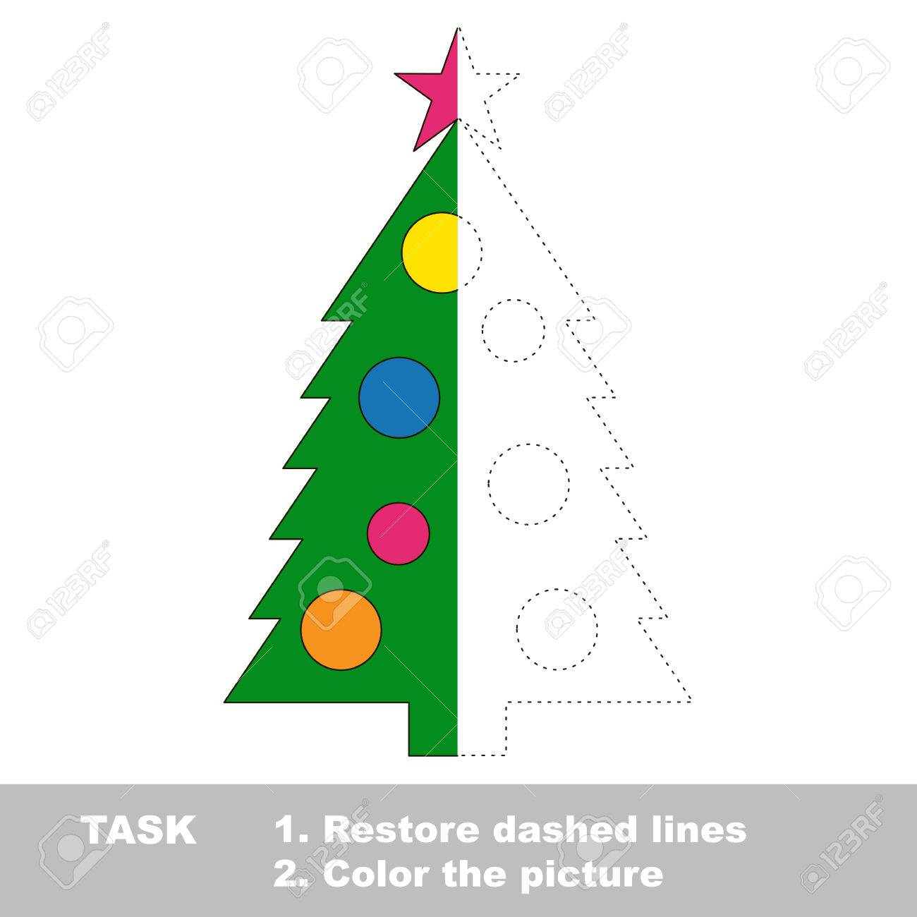 New Year Tree Vector Colorful To Be Traced. Restore Dashed Line ...
