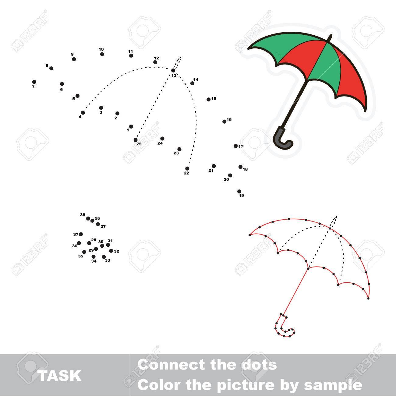 Regenschirm Durch Zahlen Zurückgeführt Werden. Vector Dot Spiel Zu ...