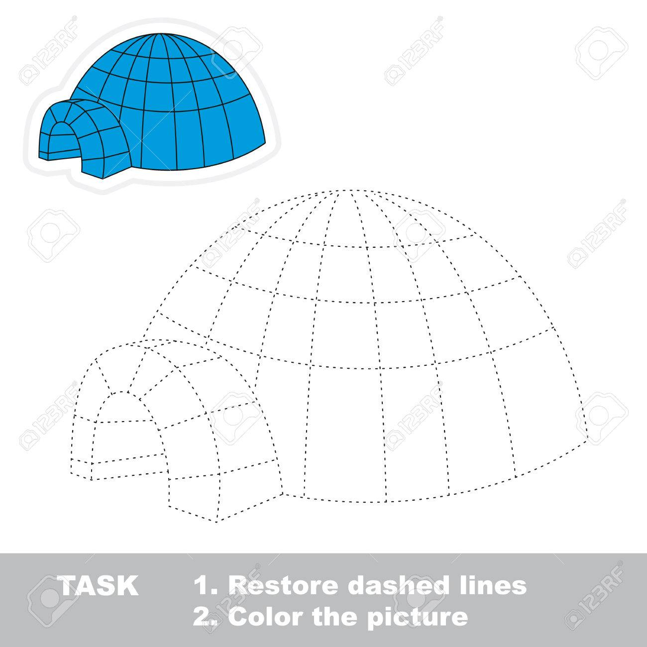 igloo vector to be traced restore dashed line and color the picture stock vector