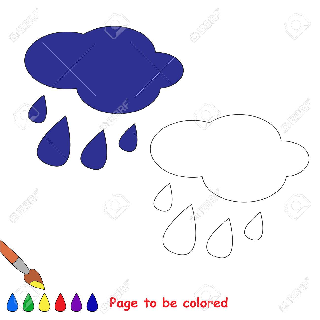 Rain In Vector Cartoon To Be Colored Coloring Book For Children Stock