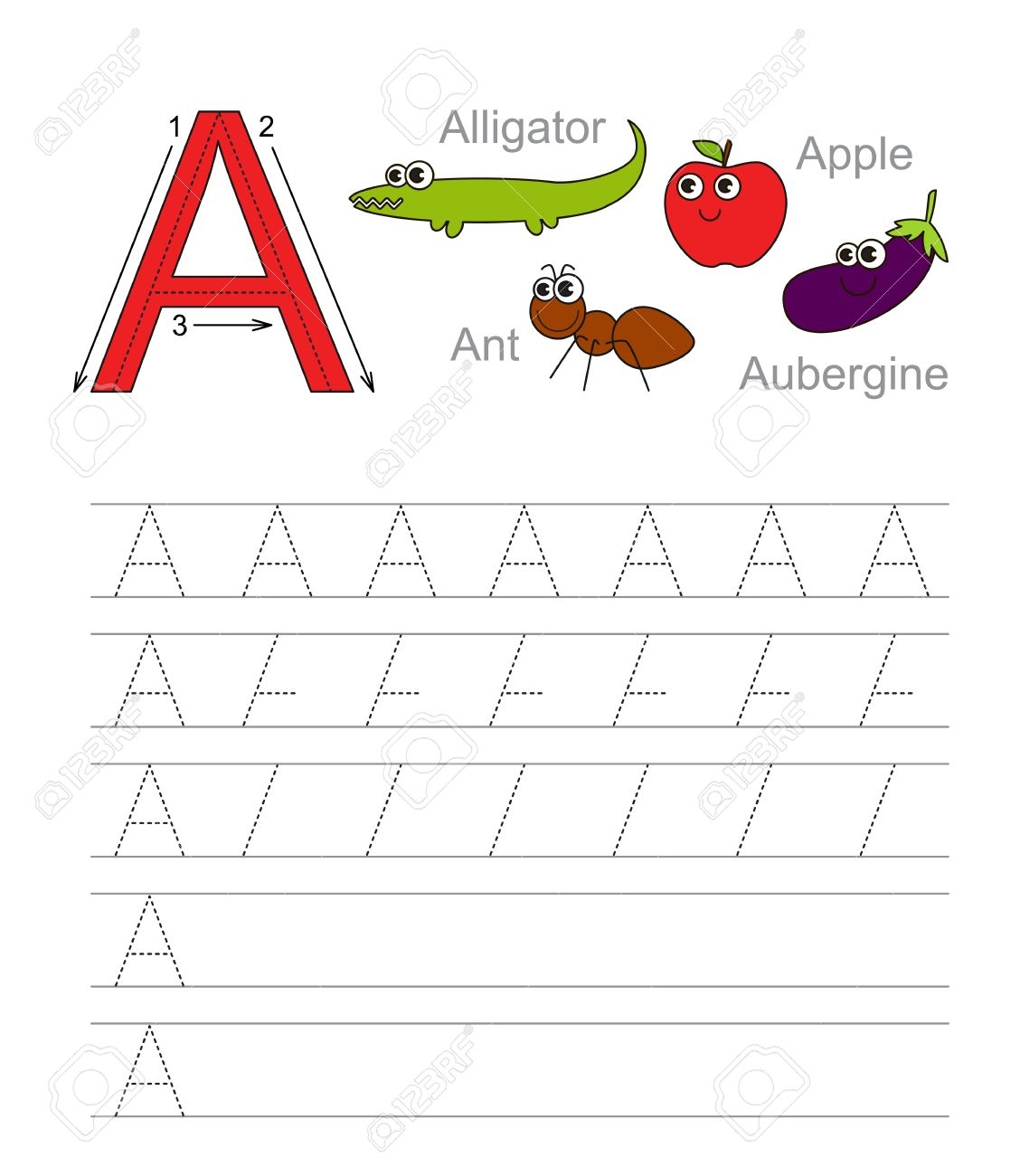 Worksheet Learn Handwriting vector exercise illustrated alphabet learn handwriting tracing worksheet for letter a