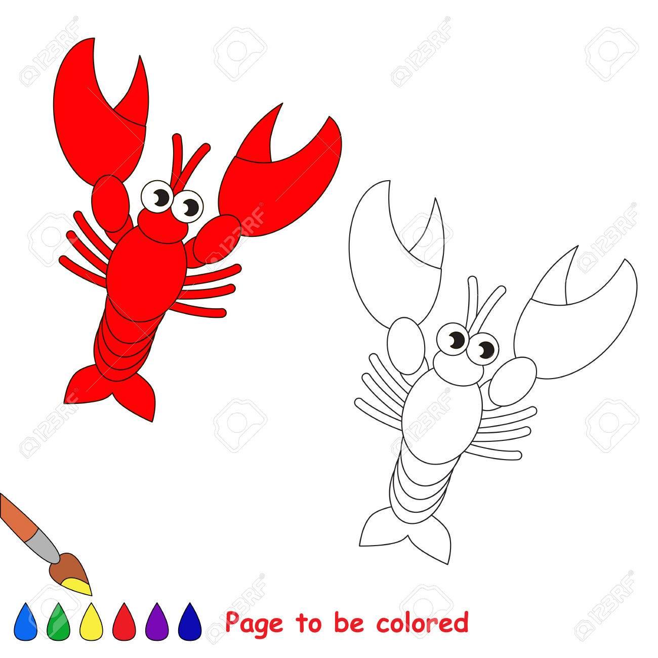 Langosta En El Vector De Dibujos Animados Para Colorear. Libro De ...