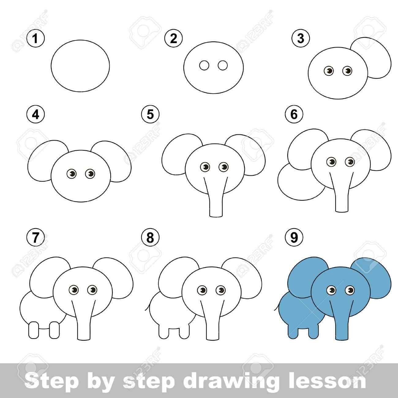 Paso A Paso Tutorial De Dibujo Vector De Juego De Niños Cómo Dibujar Un Elefante