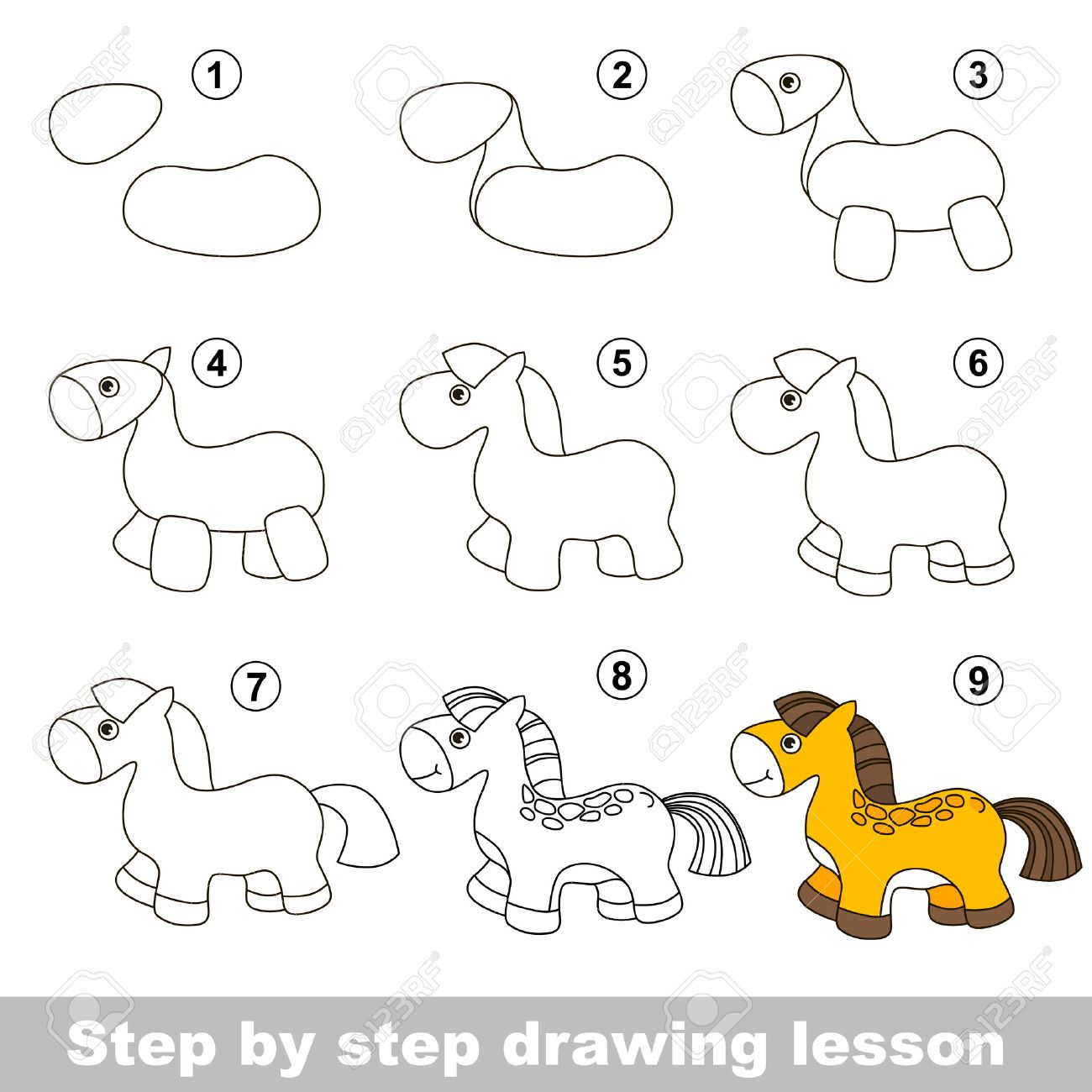 Step by step drawing tutorial vector kid game how to draw a horse stock