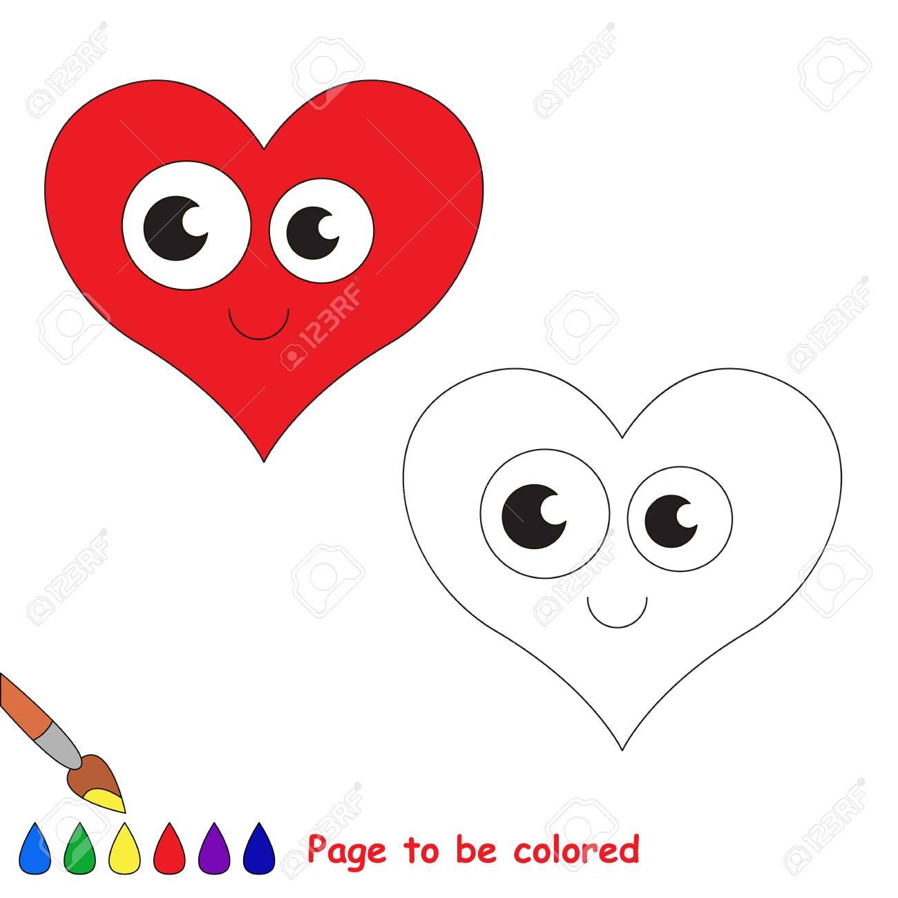 Corazón En Dibujos Animados Vector Para Colorear Libro De Colorear Para Niños