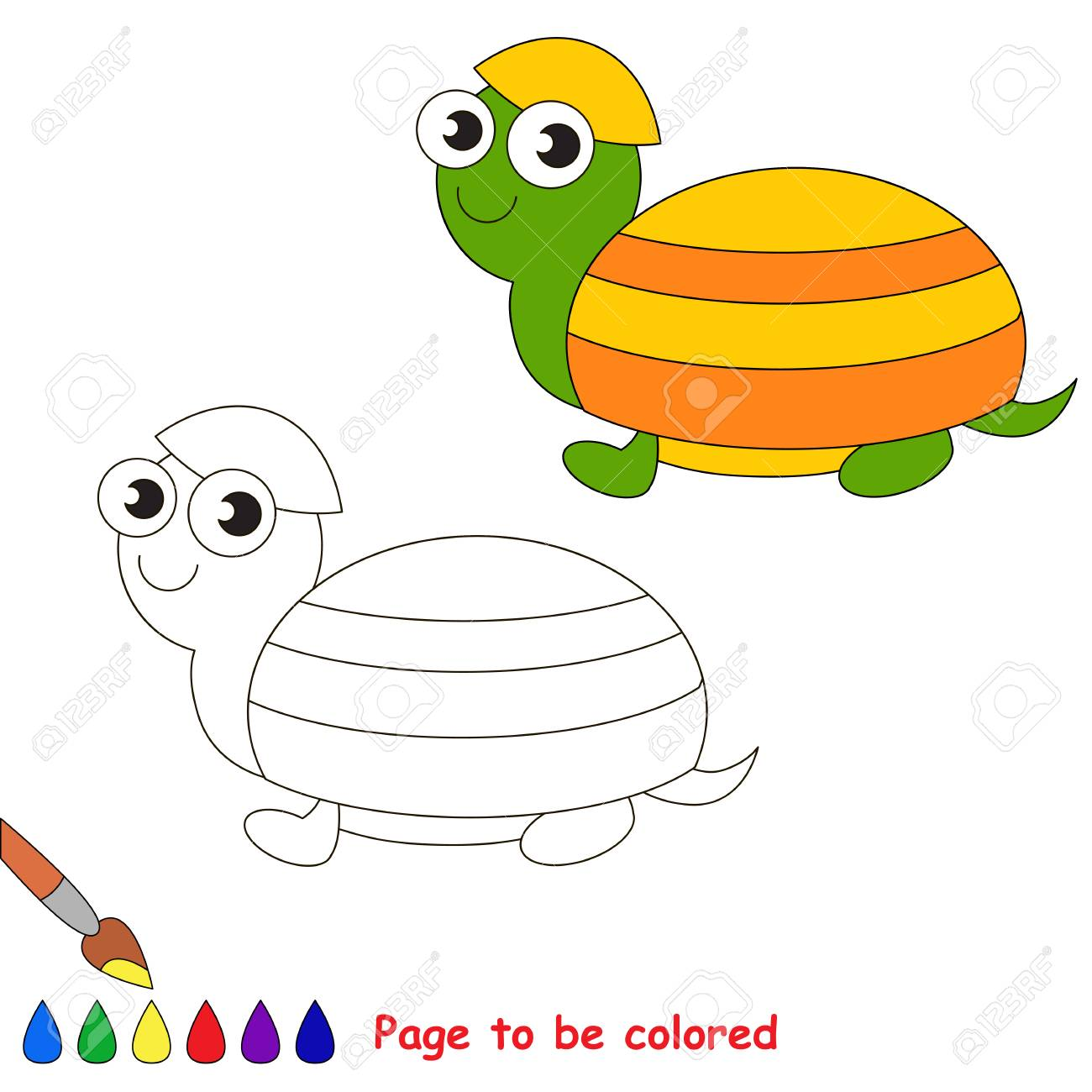 Turtle In Vector Cartoon To Be Colored. Coloring Book For Children ...