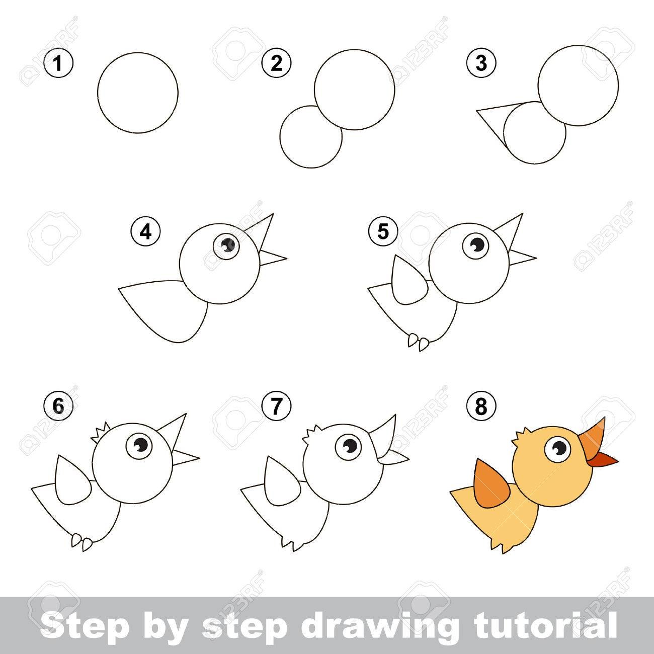 step by step drawing tutorial visual game for kids how to draw a bird - Kids Drawing Pic