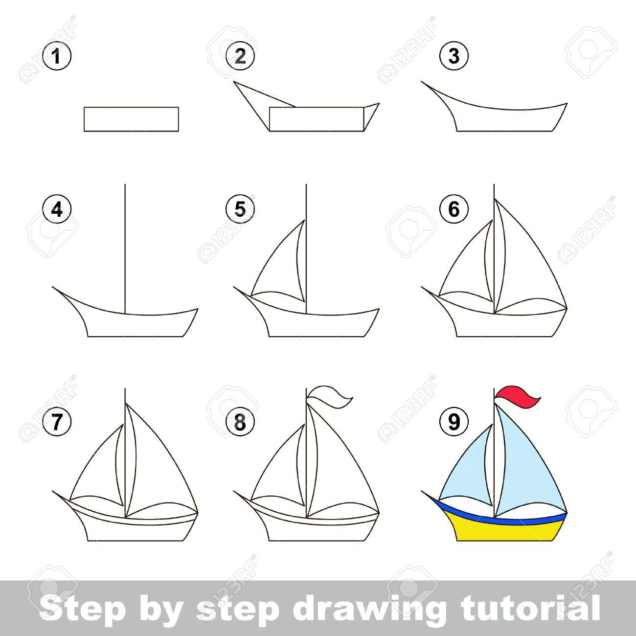 Paso A Paso Tutorial De Dibujo Juego Visual Para Los Niños Cómo Dibujar Un Barco Ilustraciones Vectoriales Clip Art Vectorizado Libre De Derechos Image 51115769