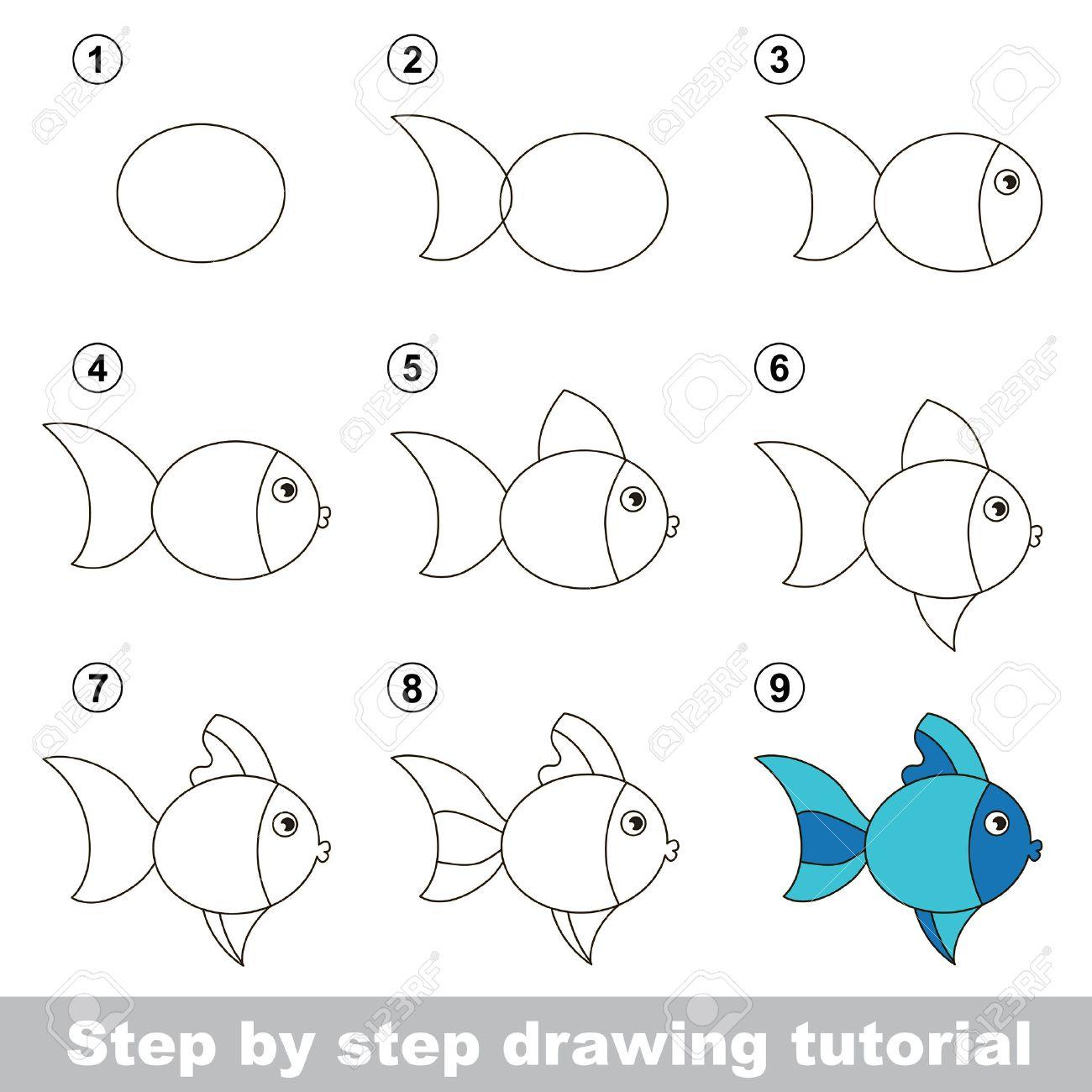 Paso A Paso Tutorial De Dibujo Juego Visual Para Los Niños Cómo Dibujar Un Lindo De Los Pescados