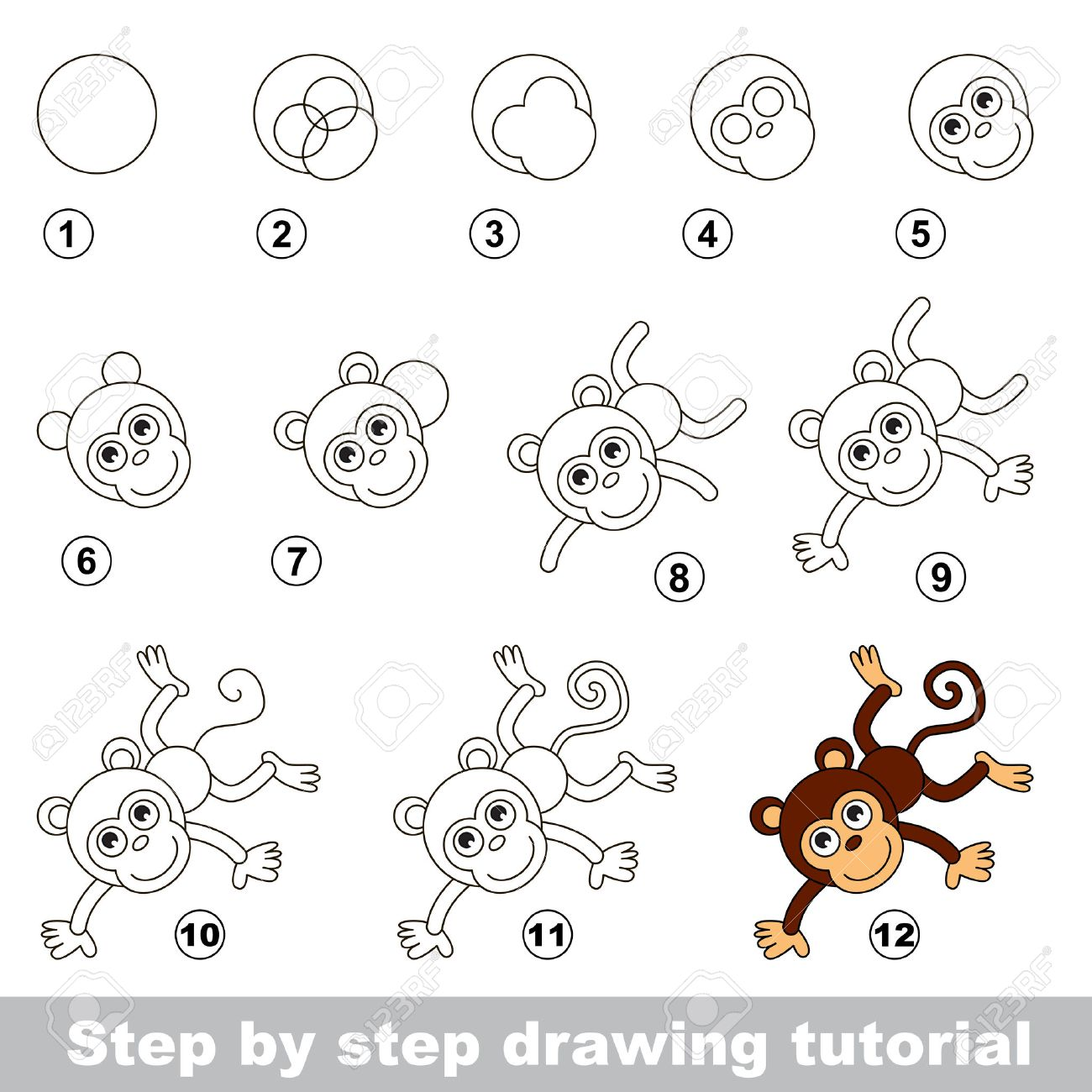 Step by step drawing tutorial. Visual game for kids. How to draw..