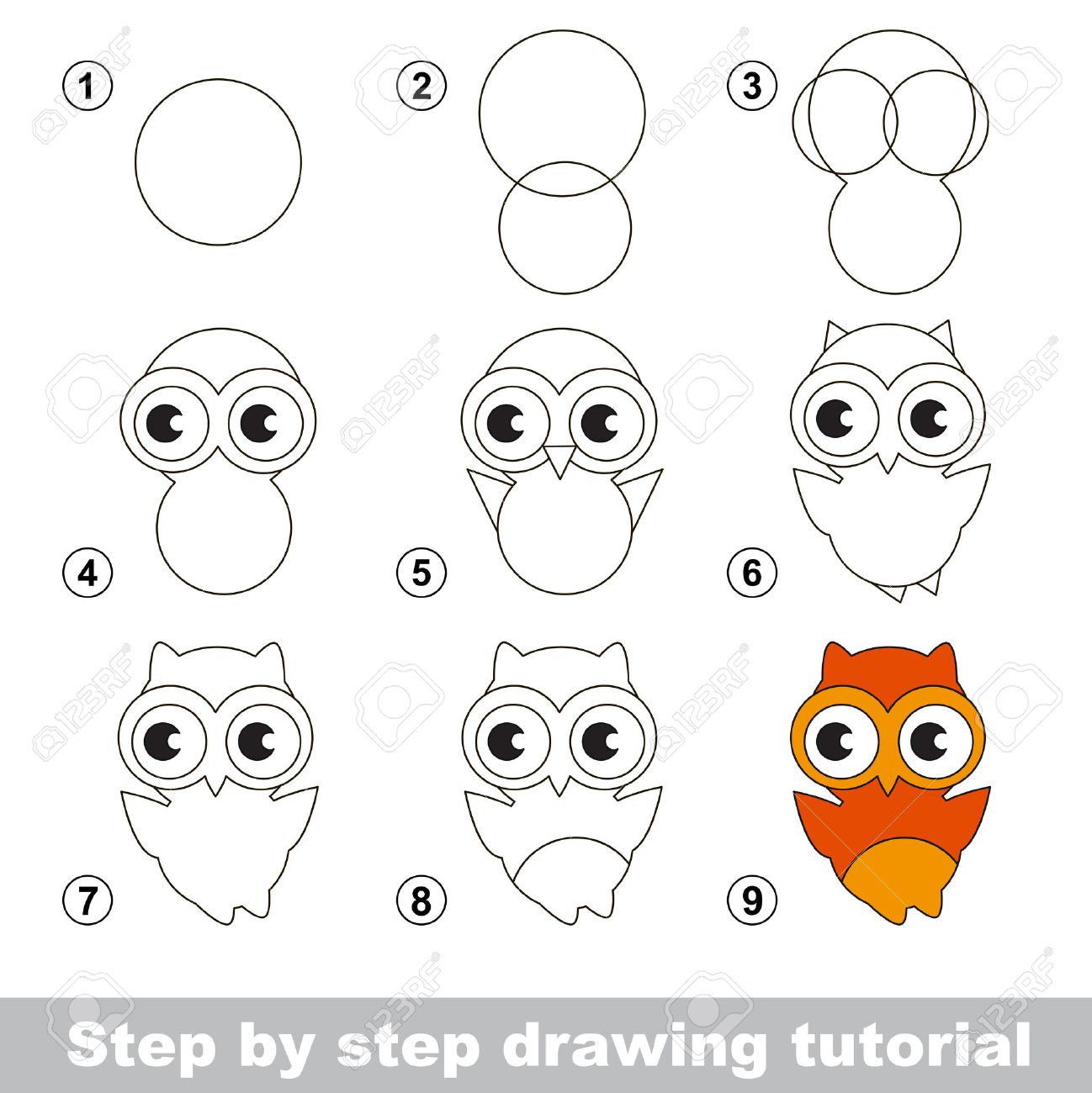 Step By Step Drawing Tutorial. Visual Game For Kids. How To Draw A ...