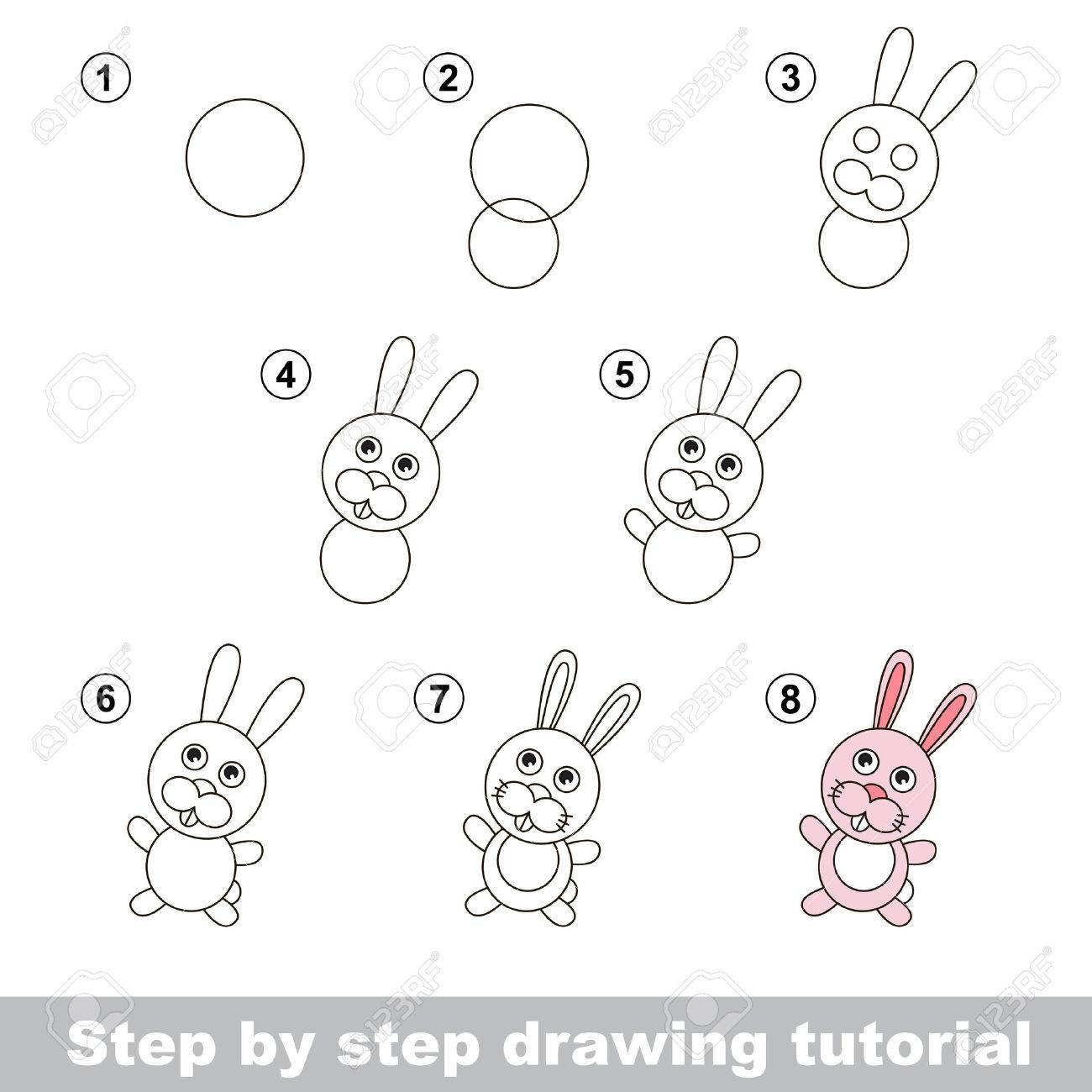 Step by step drawing tutorial visual game for kids how to draw a little