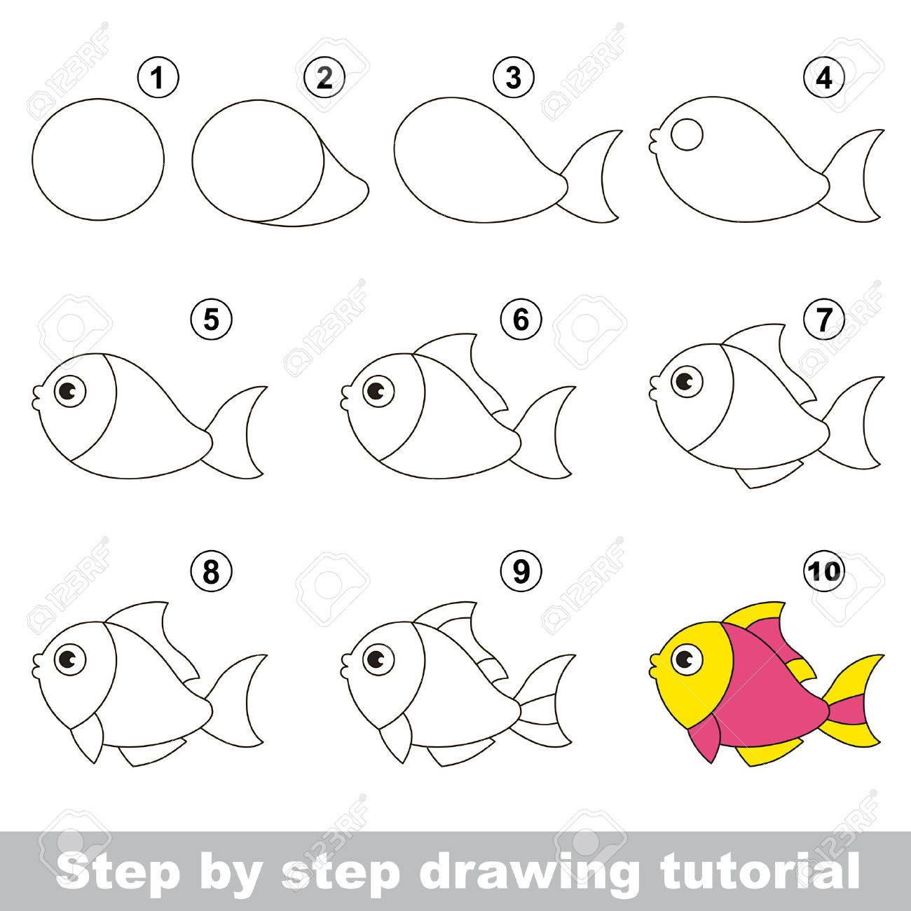 Funny Fish Step By Step Drawing Tutorial Royalty Free Cliparts Vectors And Stock Illustration Image 51150858