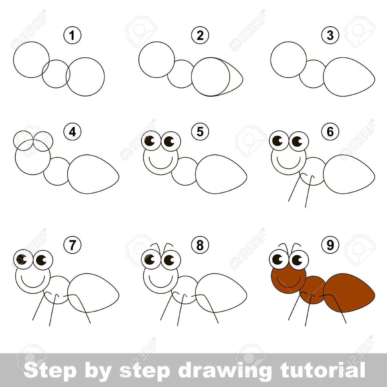 Vector visual game for kids how to draw an ant