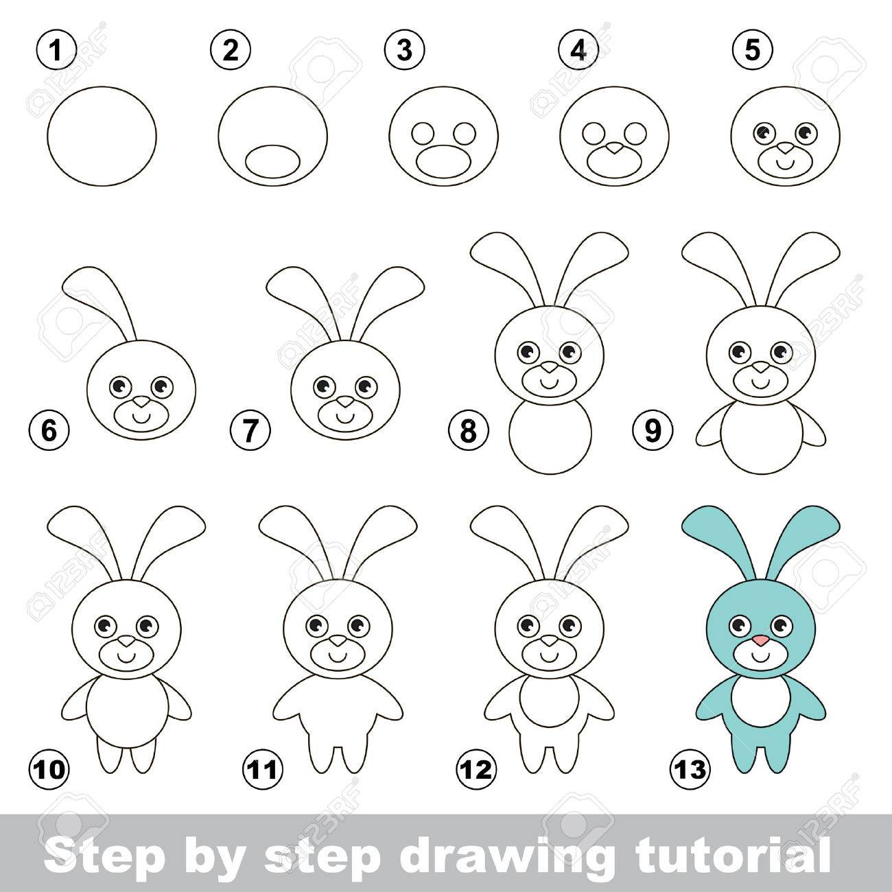 Vector visual game for kids how to draw a funny bunny