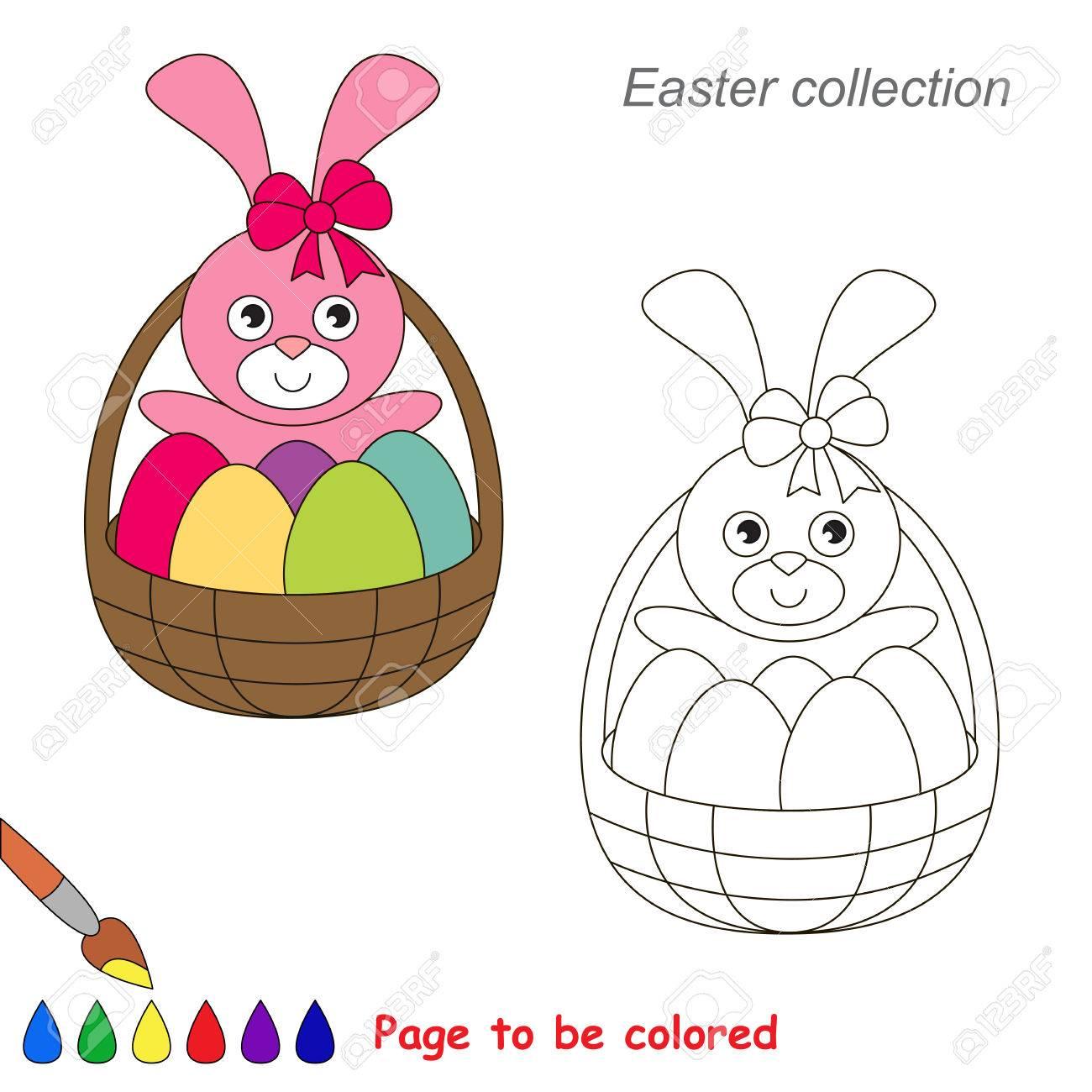 Pascua Del Conejito Lindo Para Ser Coloreado. Libro De Colorante ...