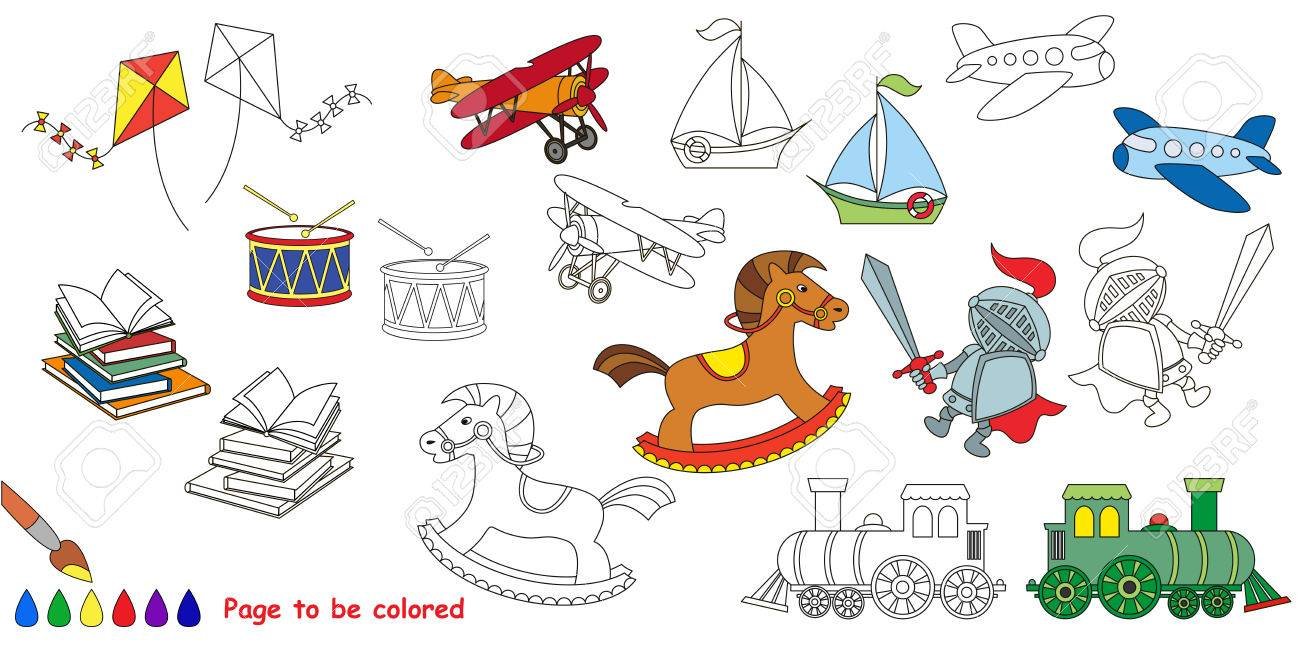 Boy Toy. Big Coloring Book. Colorless And Colorful Set In Vector ...