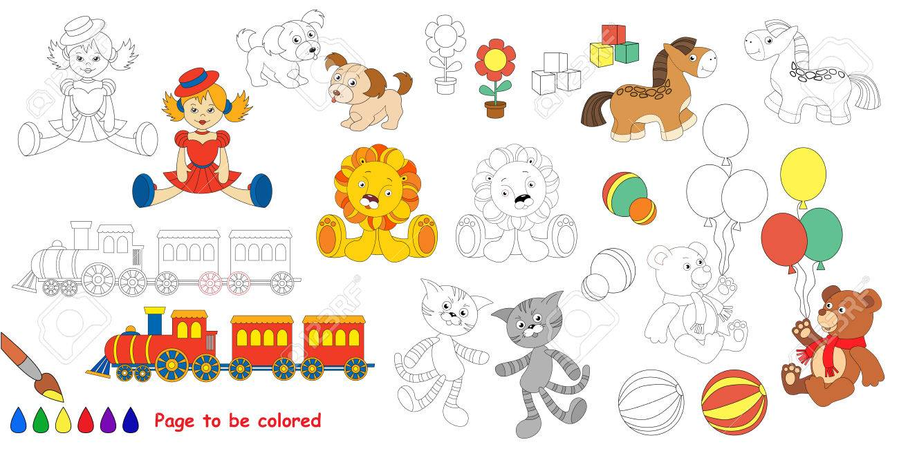 Kid Toys Big Coloring Book Colorless And Colorful Set In Vector