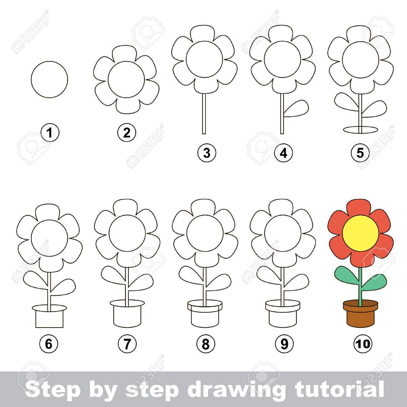 Visual Game For Kids How To Draw A Pot Flower Royalty Free Cliparts Vectors And Stock Illustration Image 51515287