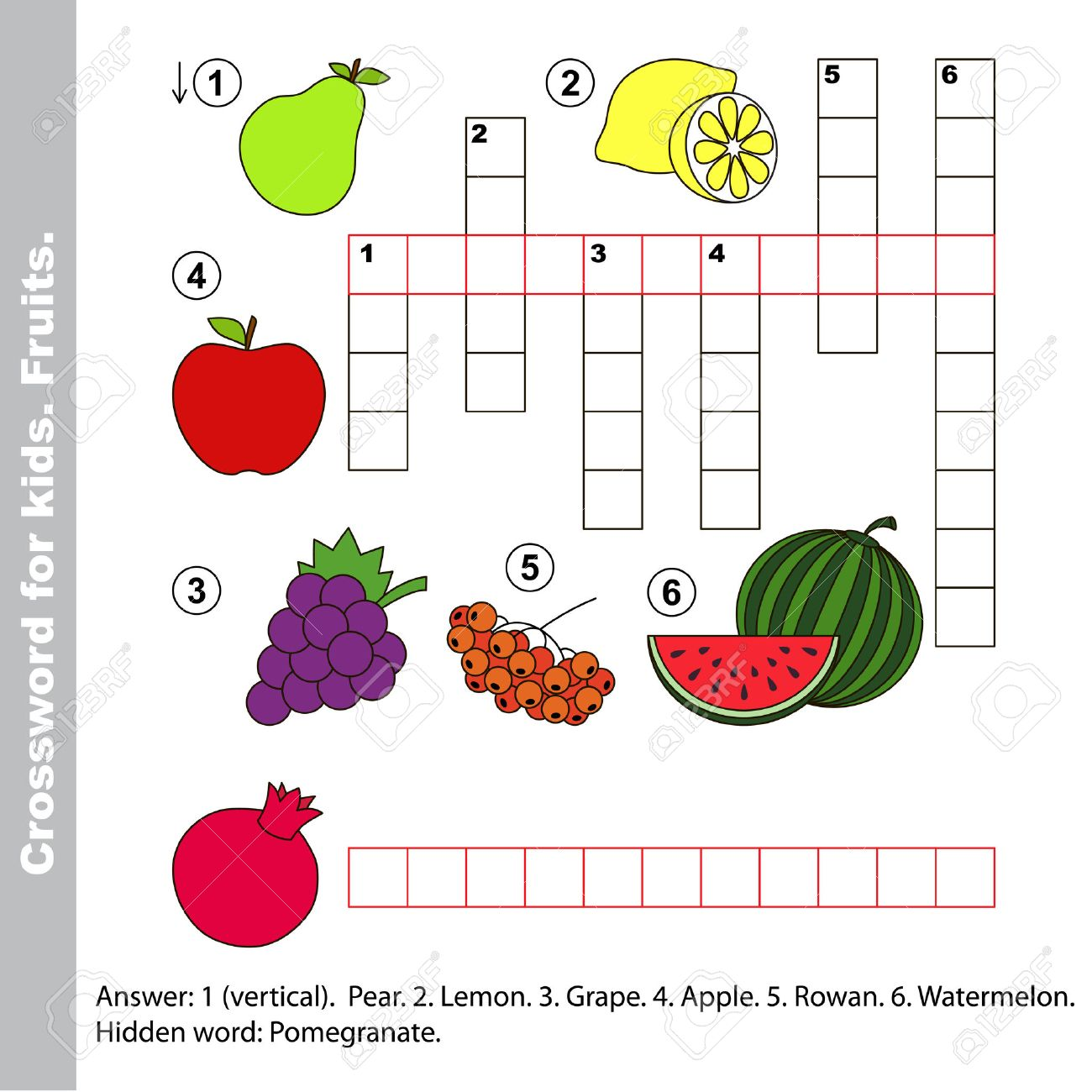 Fruit Crossword For Kids Task And Answer Colorful Version Stock Vector