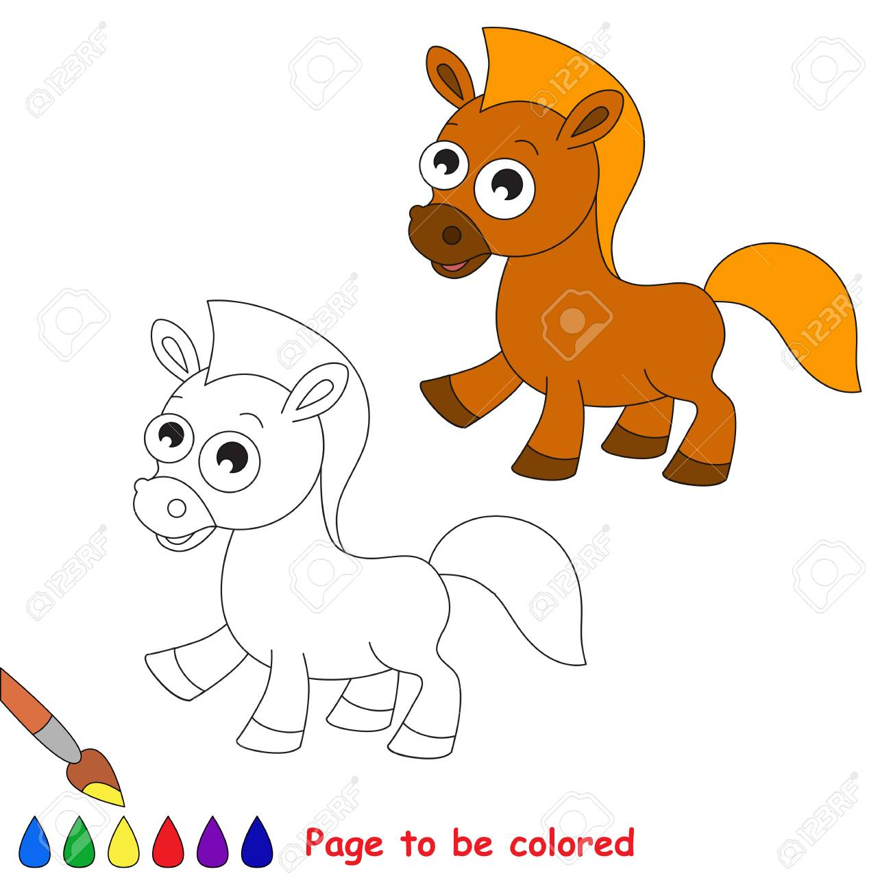 Horses in to be colored. Coloring book for children. Visual game.