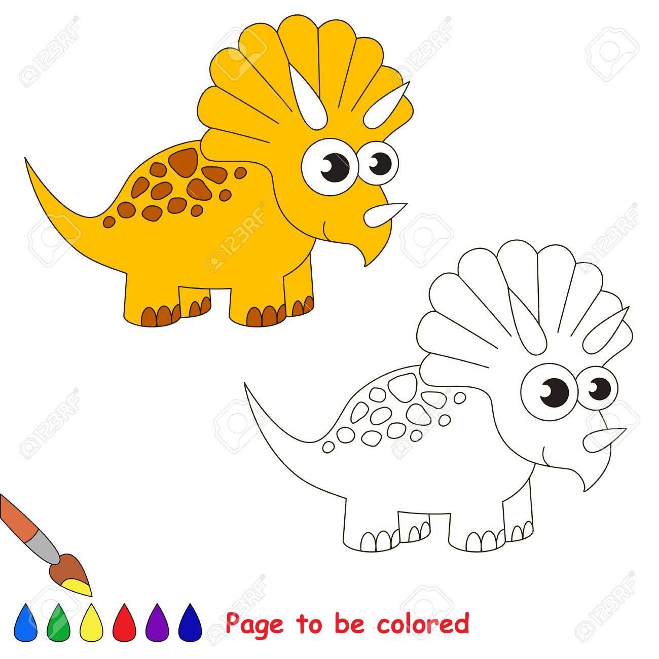 Triceratops à Colorier Livre Colorier Pour Enfants Jeu Visuel