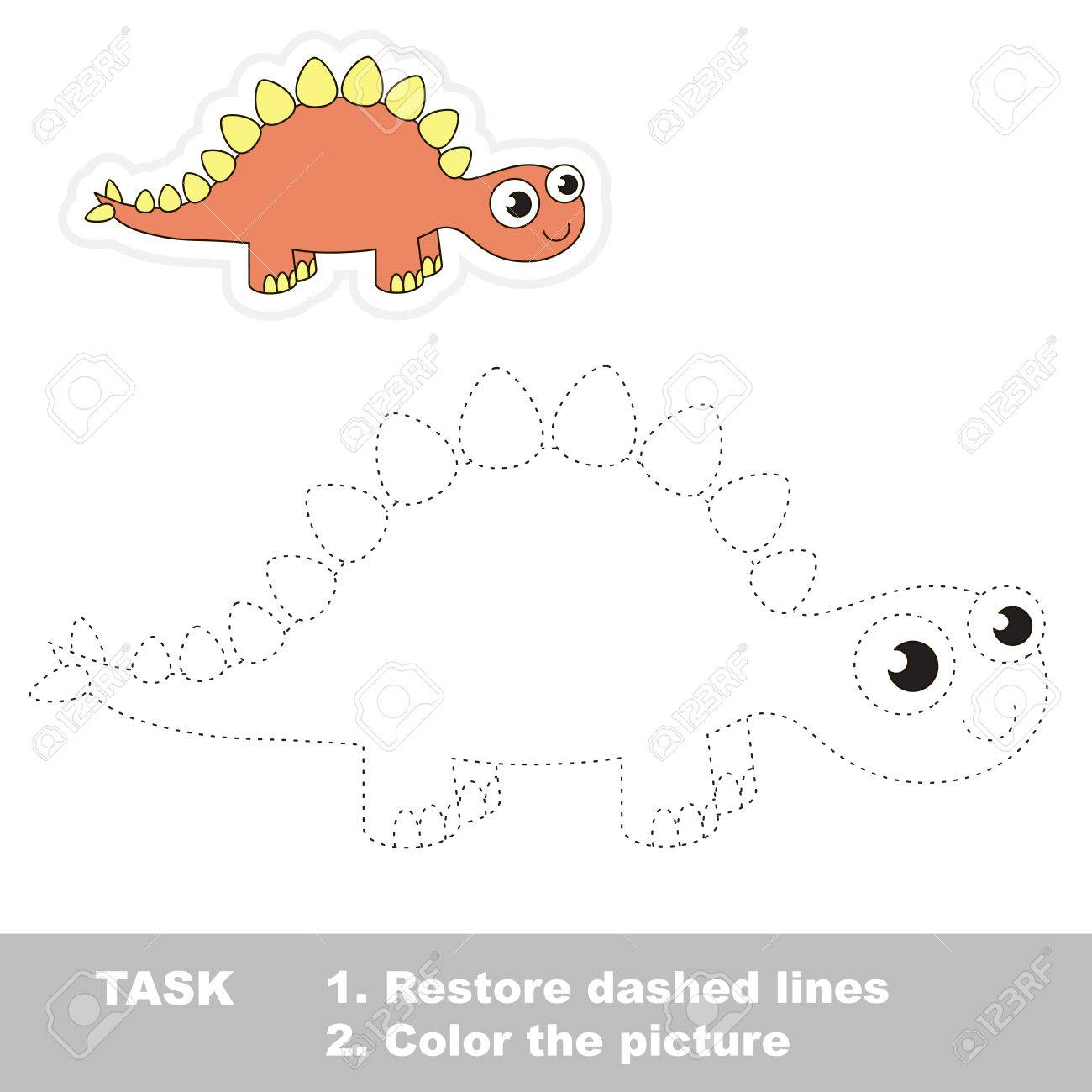 Cute stegosaurus in vector to be traced. Restore dashed line and color the picture. Trace game for children. - 52188242