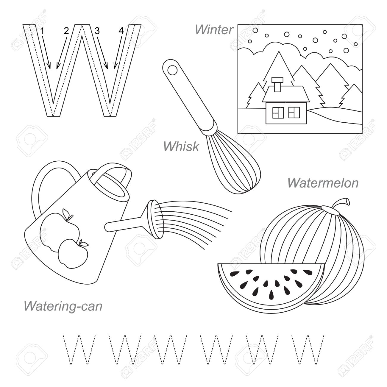 worksheet Letter W Tracing Worksheets tracing worksheet for children full english alphabet from a to z pictures letter