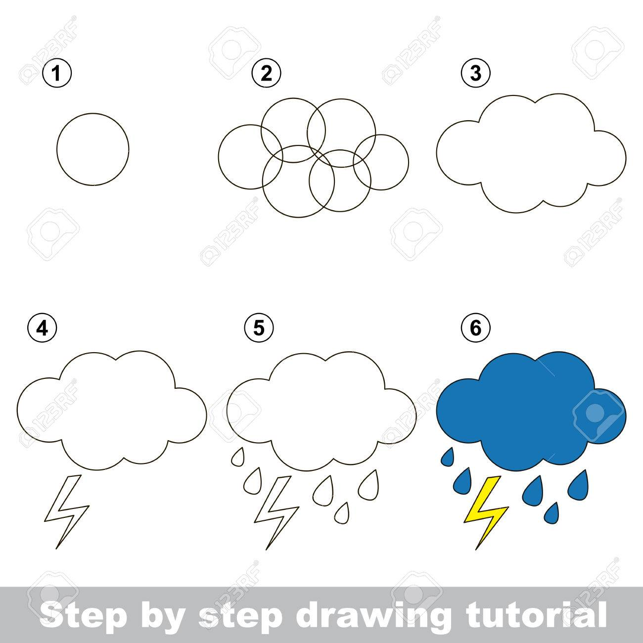 Drawing Tutorial For Children How To Draw The Rain