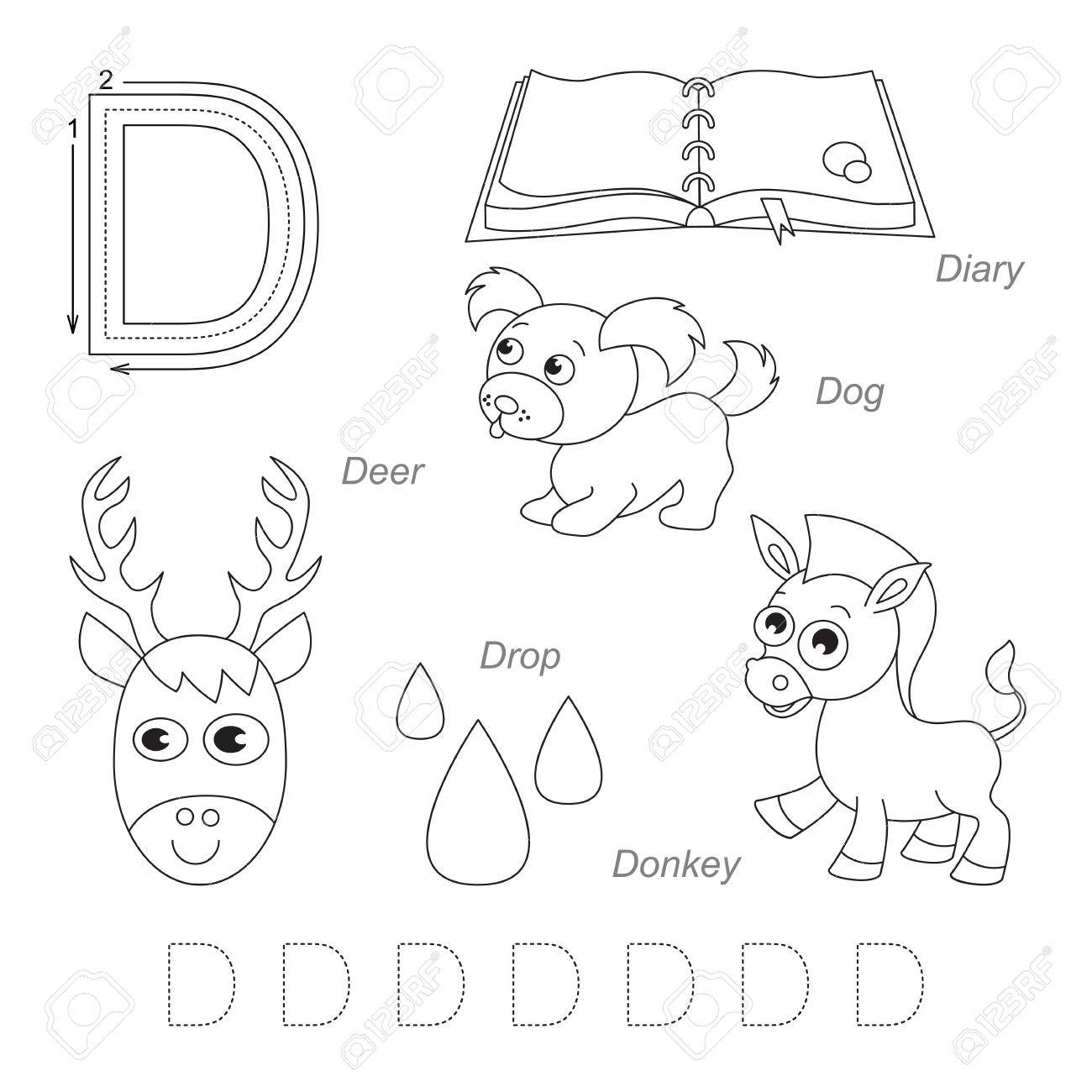 Tracing Worksheet For Children. Full English Alphabet From A To Z, Pictures  For Letter