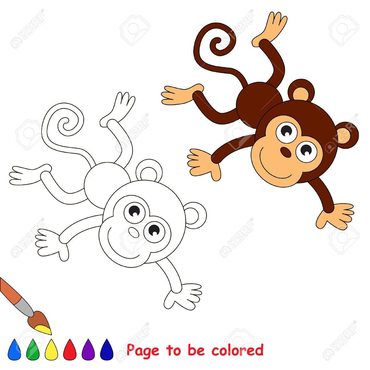 Mono En Vector De Dibujos Animados Para Colorear Libro De Colorear Para Niños