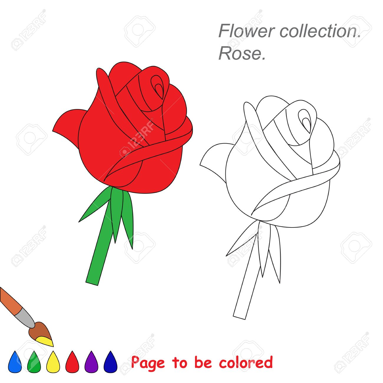 Rose in vector cartoon to be colored. Coloring book for children.