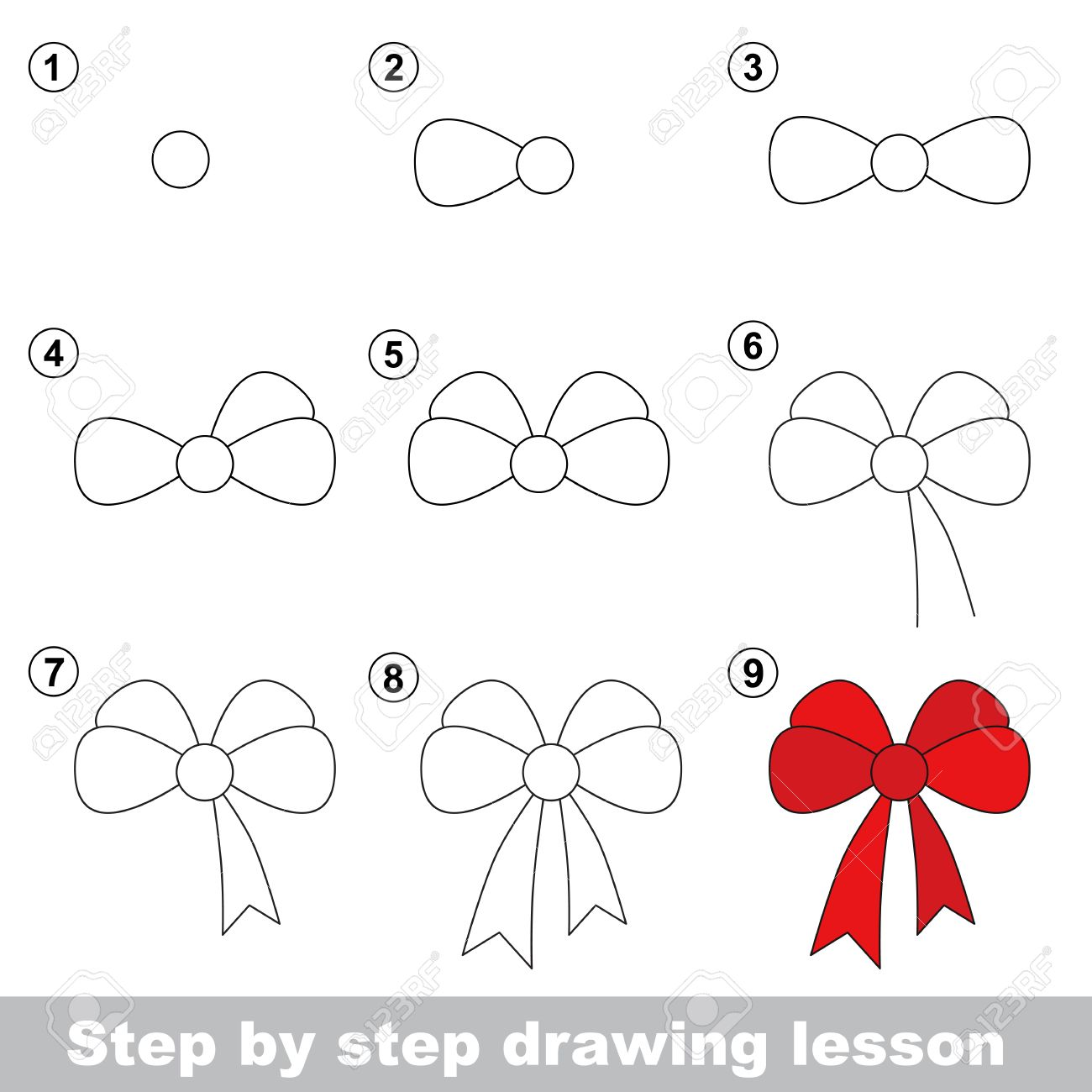 step by step drawing tutorial vector kid game how to draw a bow stock