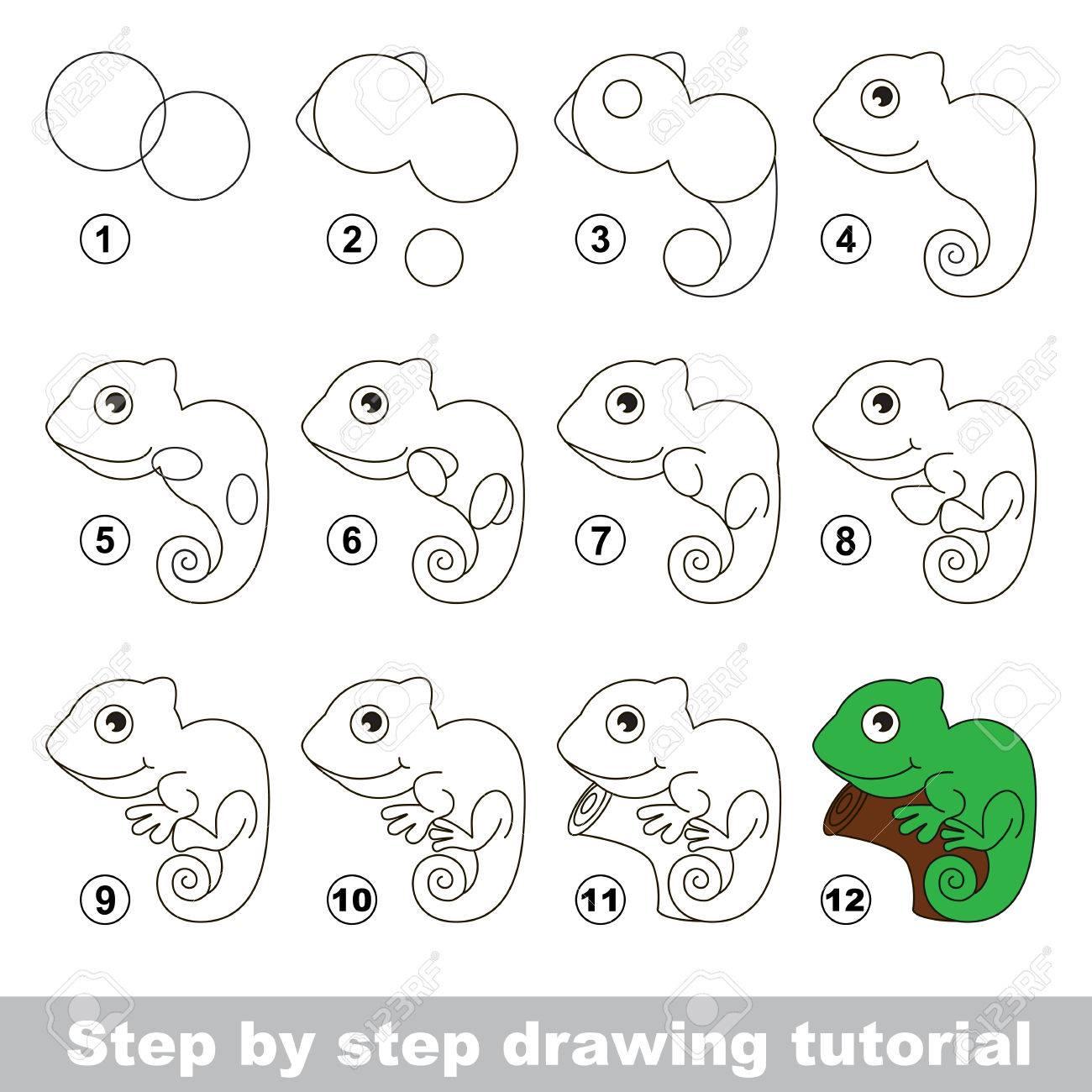 Tutorial De Dibujo Para Los Niños Cómo Dibujar La Iguana Divertida