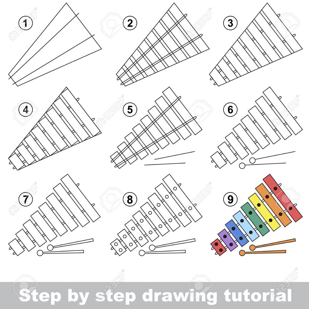 Tutorial De Dibujo Para Los Niños Cómo Dibujar El Xilófono Divertido