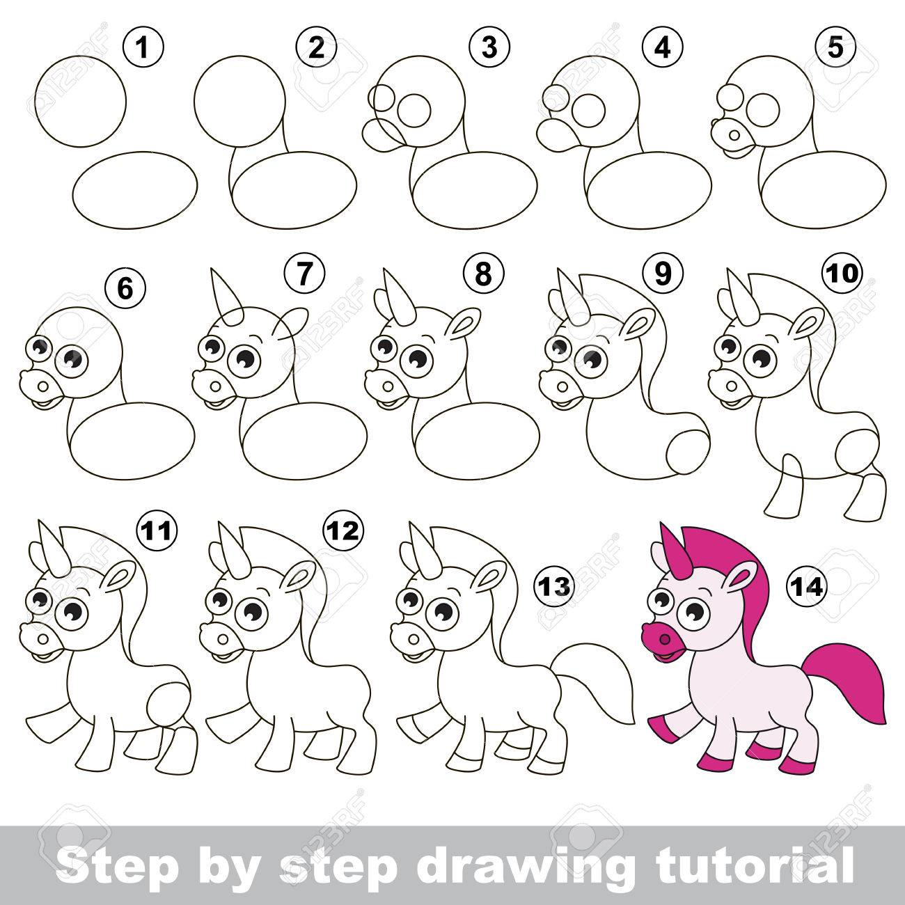 Drawing Tutorial For Children How To Draw The Funny Unicorn Royalty