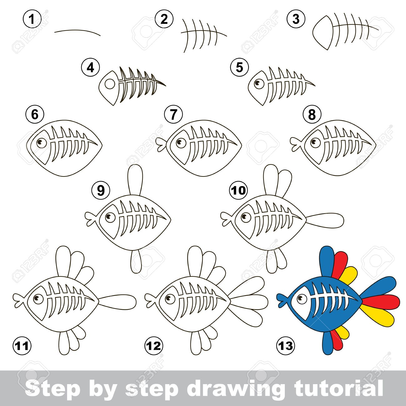 Drawing Tutorial For Children How To Draw The Funny X Ray Fish